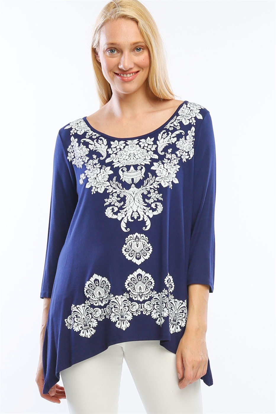 3/4 Sleeve Printed Tunic - orangeshine.com