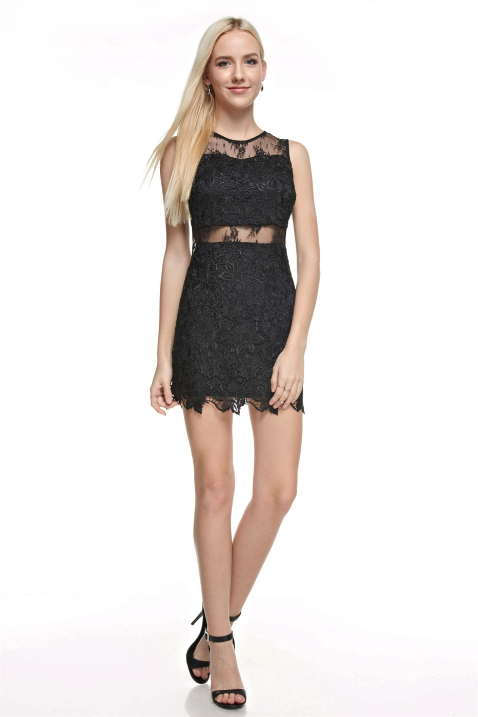 Crochet Lace Mini Dress - orangeshine.com