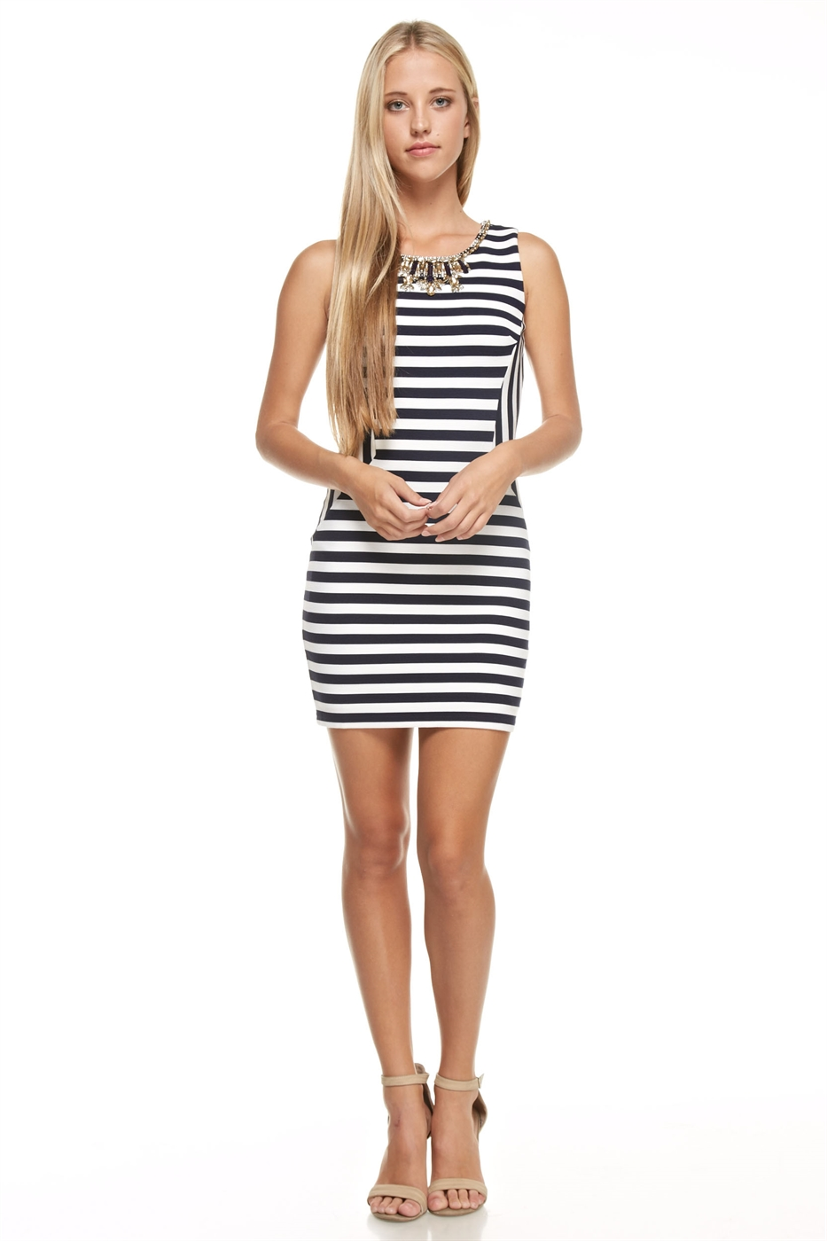 Embellished Striped Mini Dress - orangeshine.com