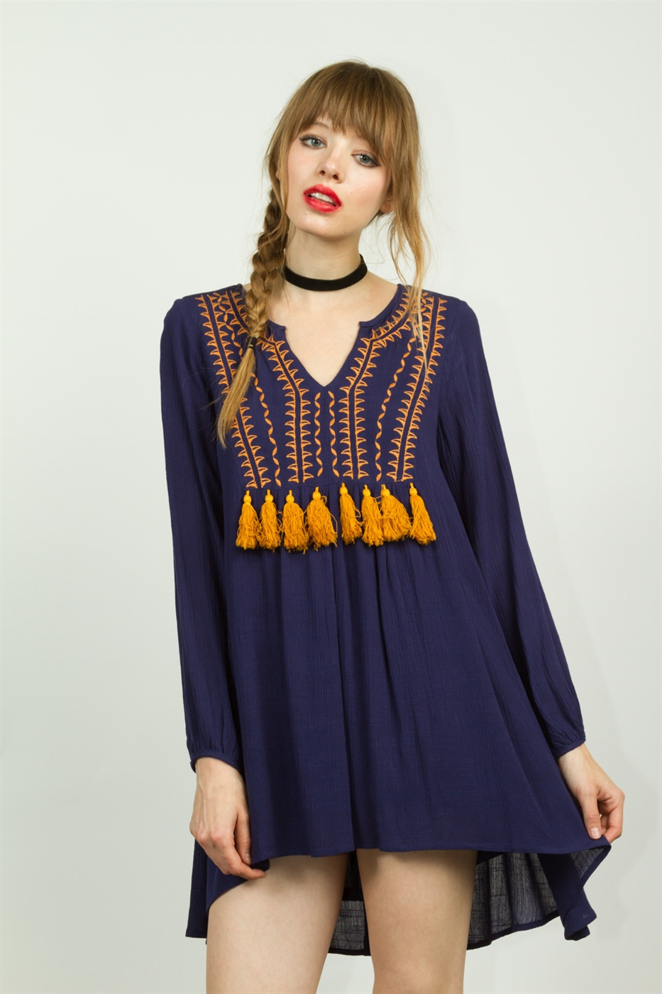 EMBROIDERED FRINGE FRONT DRESS - orangeshine.com
