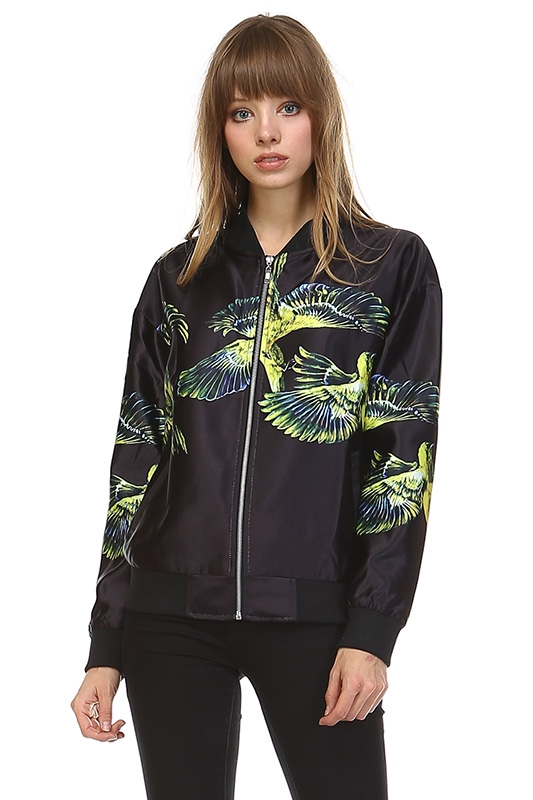 BIRD PRINT BOMBER JACKET - orangeshine.com