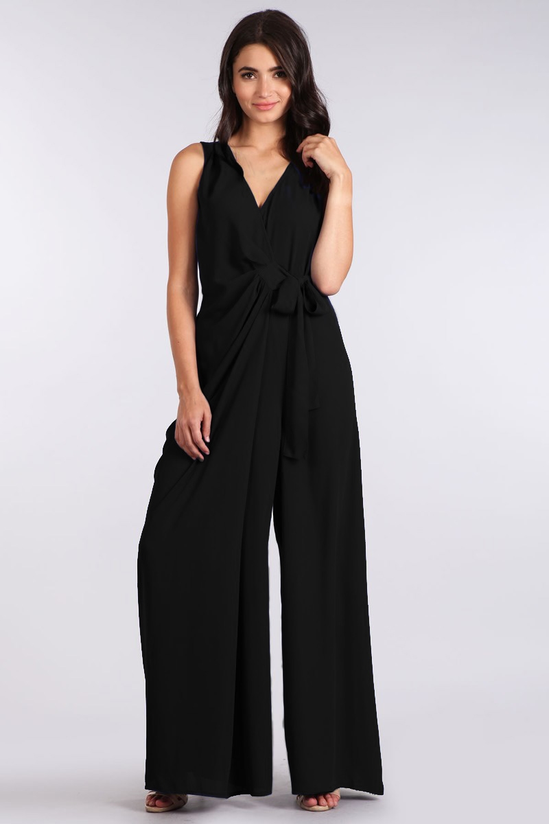 WASHED DOBY FAUX WRAP JUMPSUIT - orangeshine.com