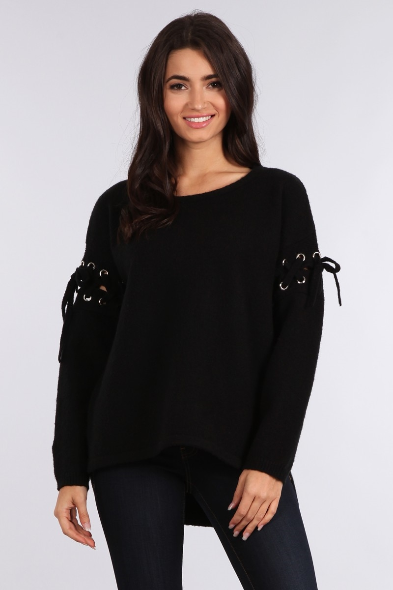 LACE-UP ON SLEEVE SWEATER - orangeshine.com