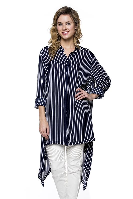 NAVY PINSTRIPED LONG BLOUSE - orangeshine.com