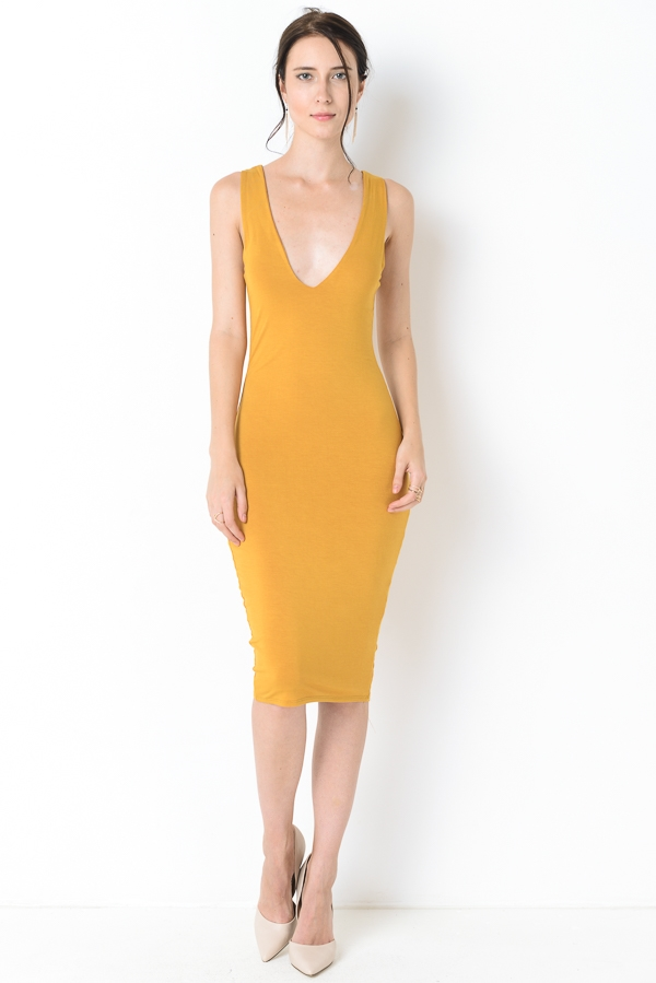MODAL V NECK DOUBLE MIDI DRESS - orangeshine.com