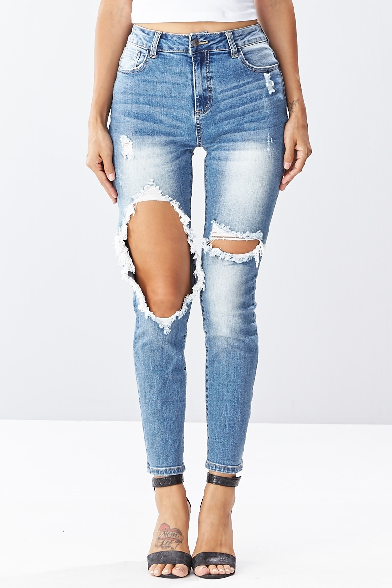 High Waist Ripped Jeans - orangeshine.com