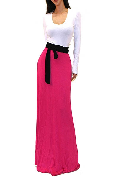 TWO TONE SOLID MAXI DRESS - orangeshine.com