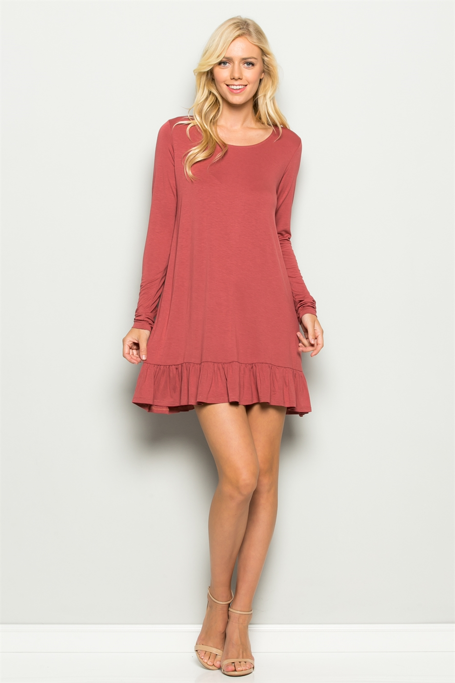 RUFFLE HEM SHIFT DRESS - orangeshine.com