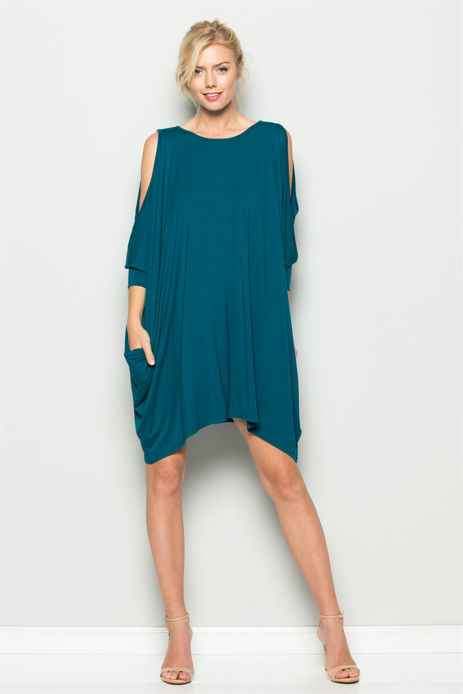DOLMAN SLEEVE DRAPED DRESS - orangeshine.com