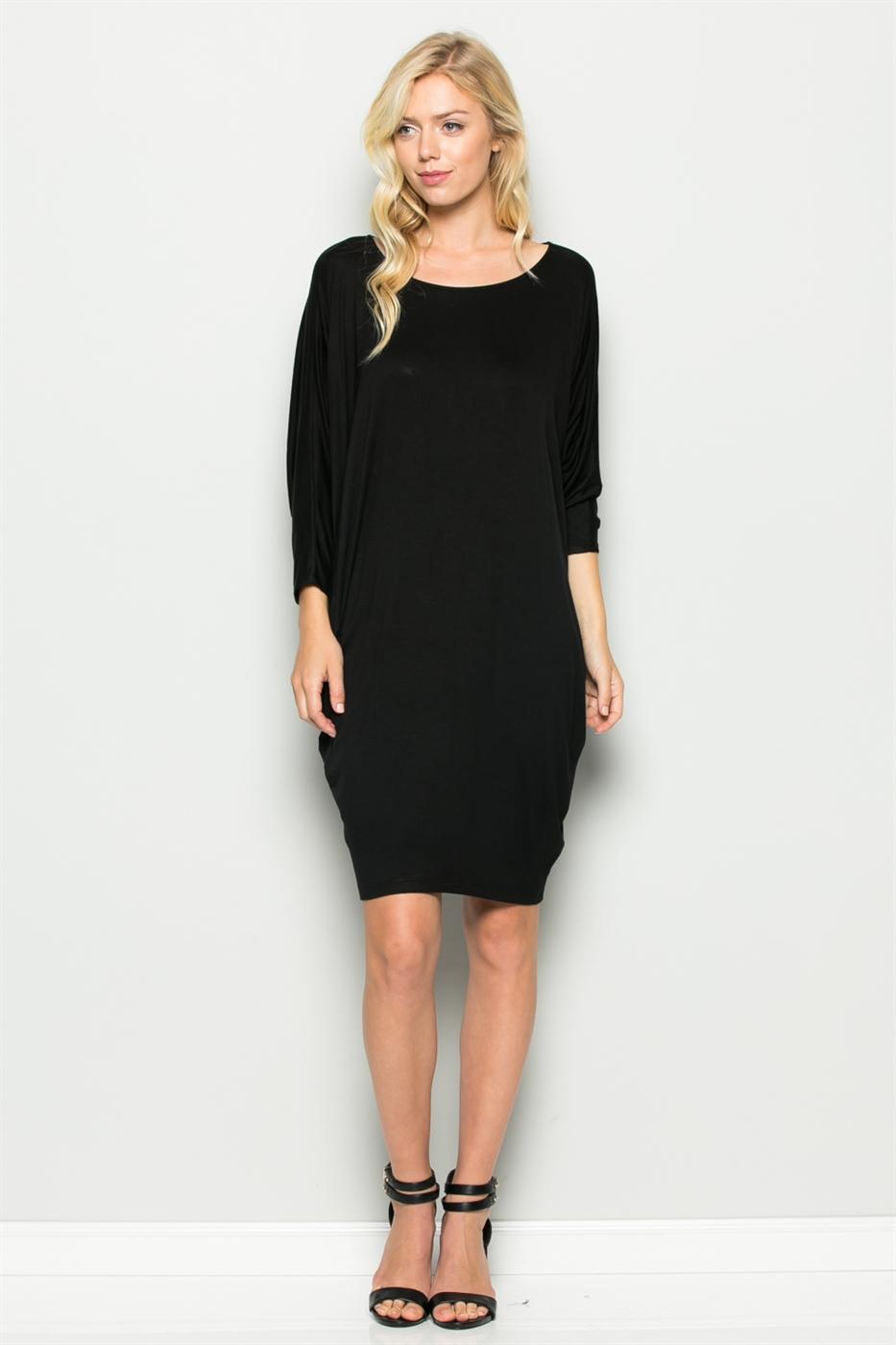 ROUND NECK DRAPED DRESS - orangeshine.com
