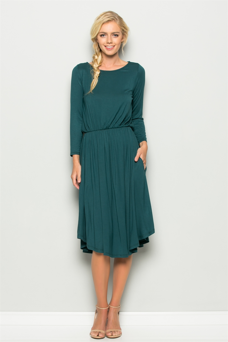 LONG SLEEVE ELASTIC DRESS - orangeshine.com