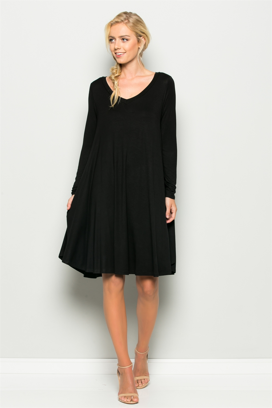 WIDE V NECK DRESS W/ POCKETS - orangeshine.com