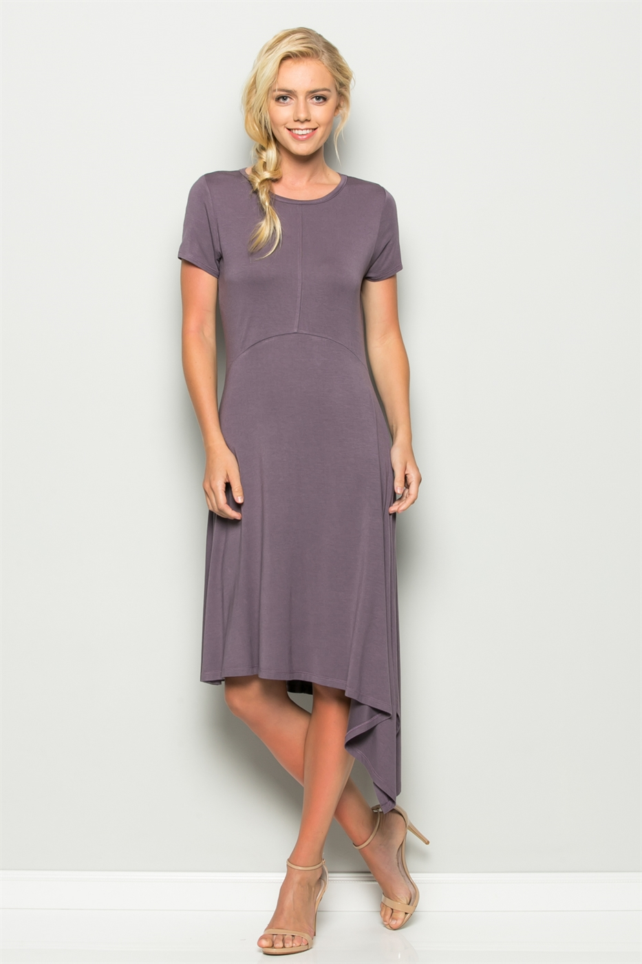 Solid Asymmetrical Midi Dress - orangeshine.com