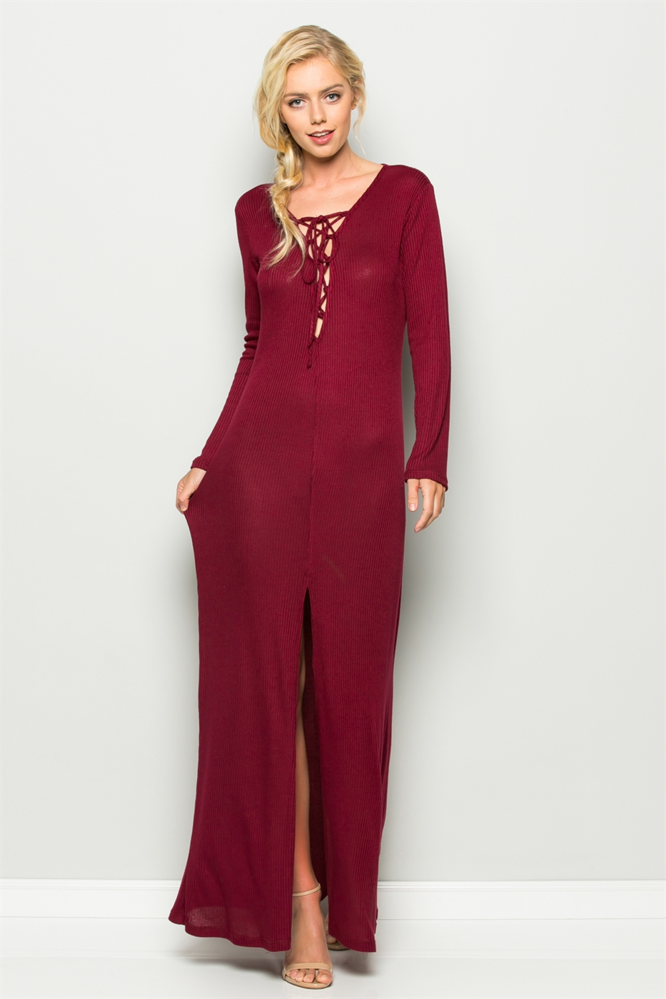 LONG SLEEVE LACE UP MAXI DRESS - orangeshine.com