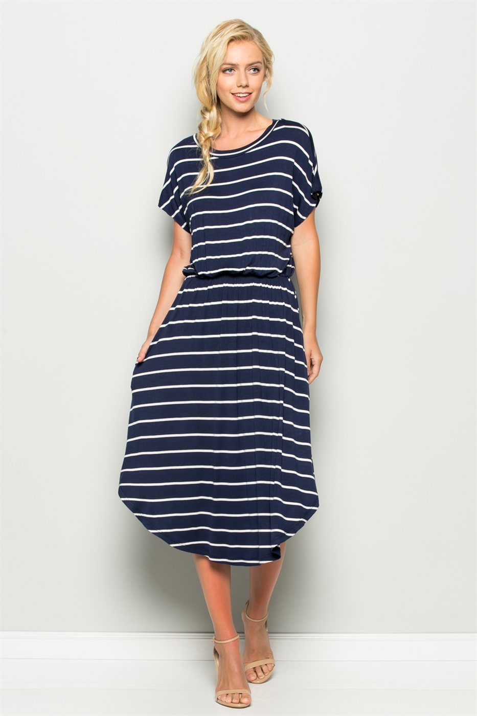 ROUND HEM STRIPE DRESS - orangeshine.com