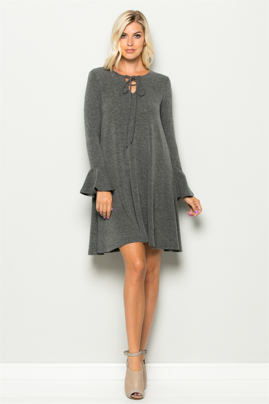 Bell Sleeve Tie Front Dress - orangeshine.com