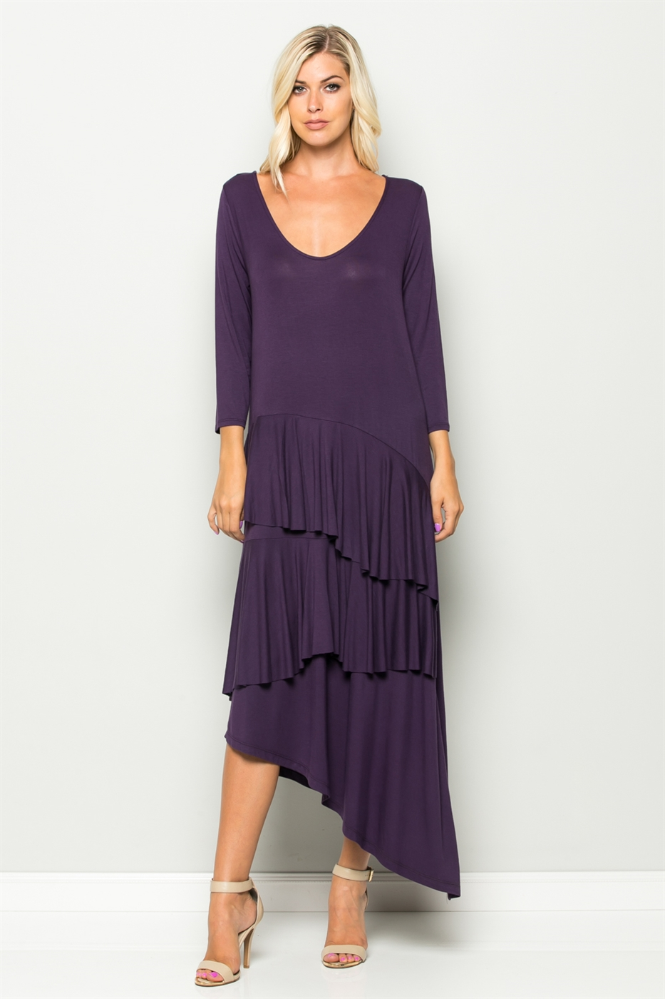 Ruffled Asymmetrical Hem Dress - orangeshine.com