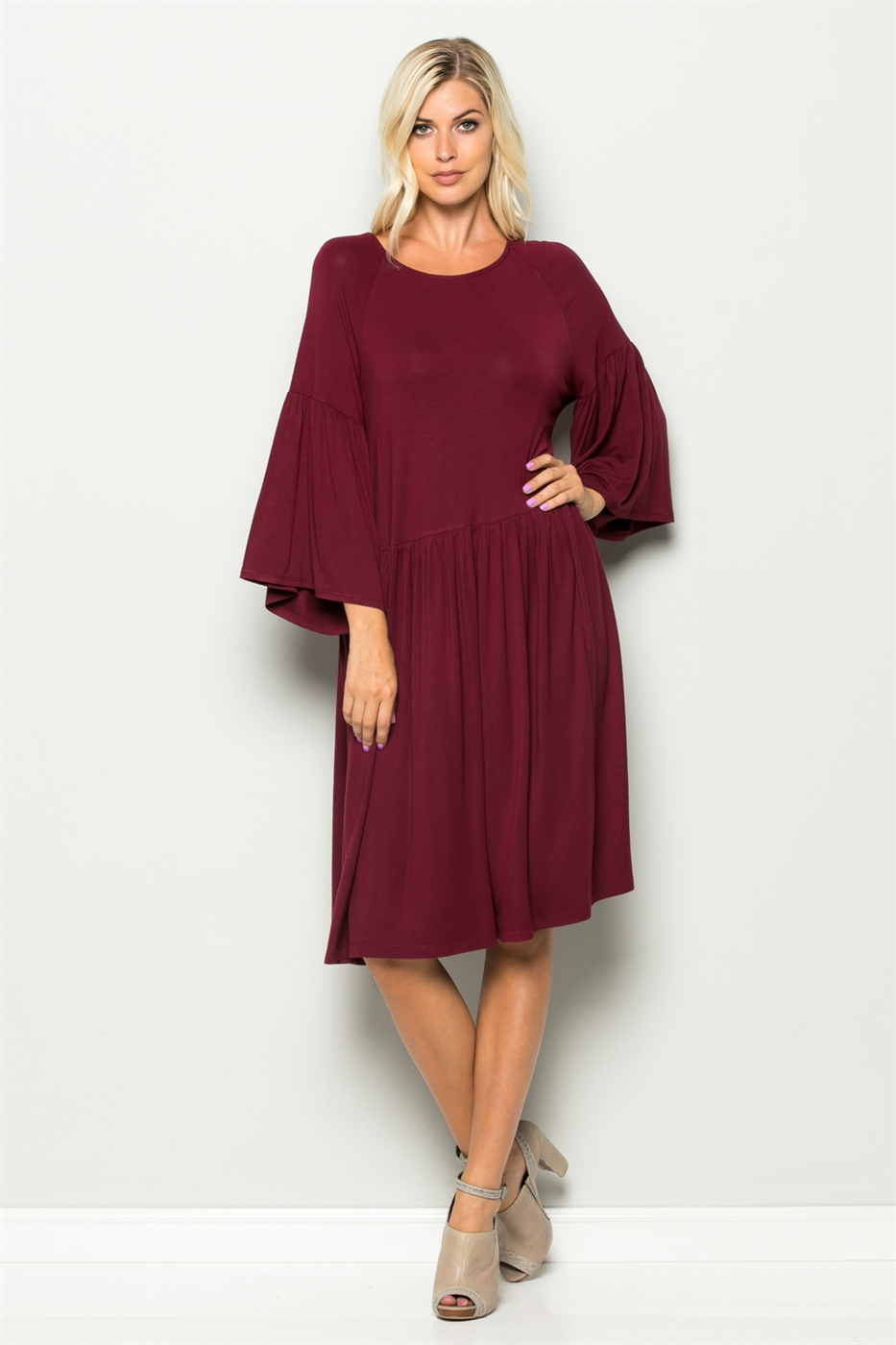 Wide Sleeve Baby Doll Dress - orangeshine.com