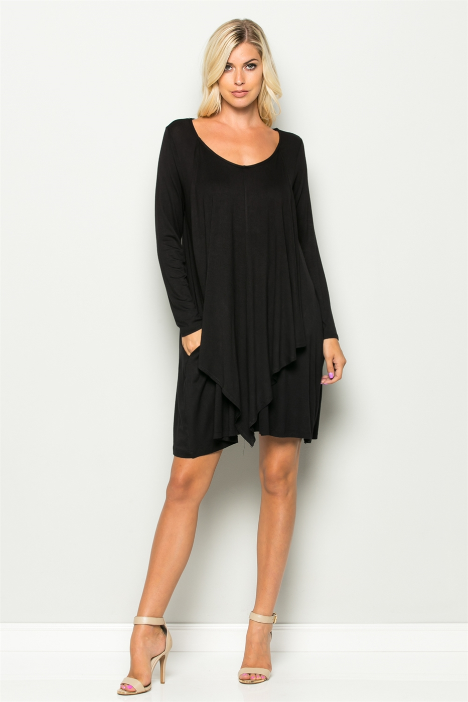 Draped Front Panel Dress - orangeshine.com