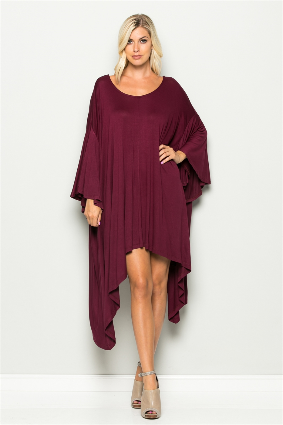 Wide Ruffle Sleeve Dress - orangeshine.com