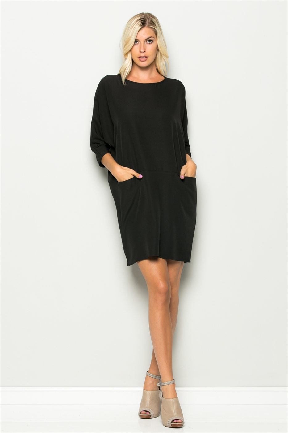 Back Tied Pocket Front Dress - orangeshine.com