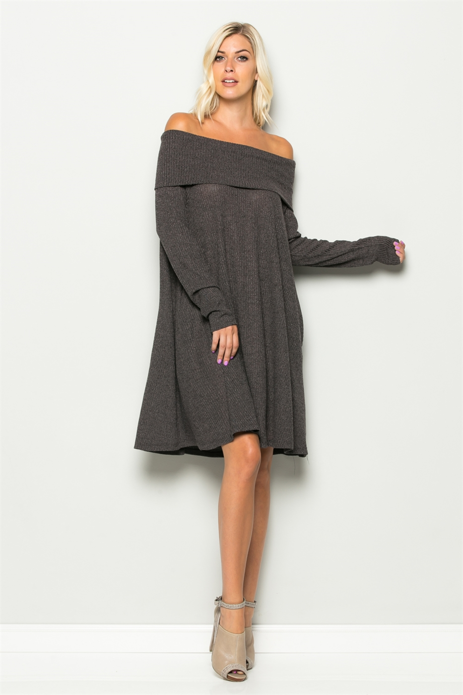 Off Shoulder Cowl Neck Dress - orangeshine.com