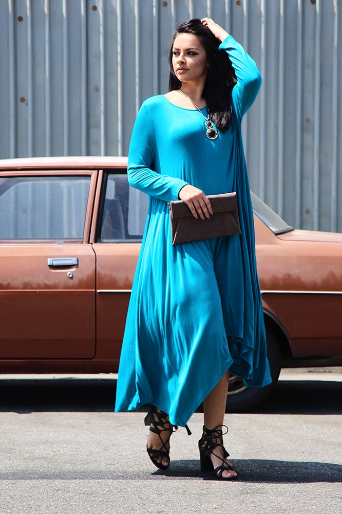 High Low Flared Maxi Dress - orangeshine.com