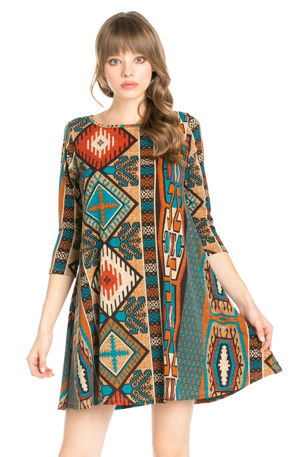 3/4 Sleeve Pocket Tunic Dress - orangeshine.com