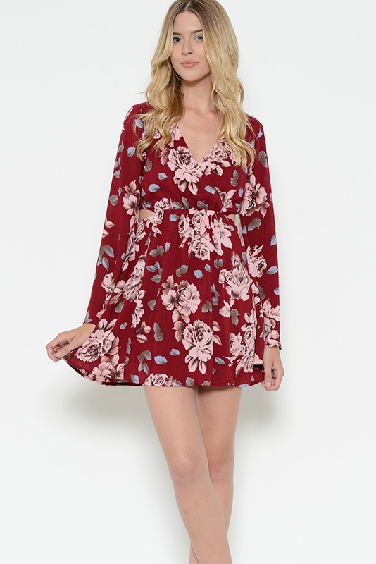 Flower Print Side Cutout Dress - orangeshine.com
