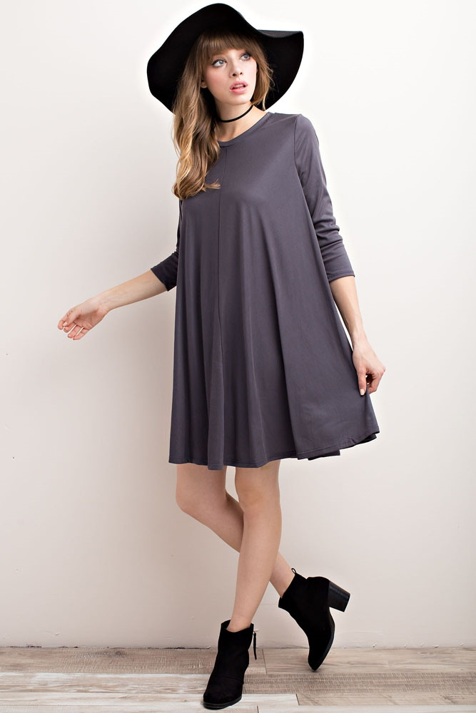 CUPRO RIBBED 3/4 SLEEVED DRESS - orangeshine.com