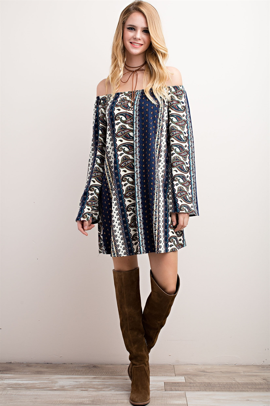BOHEMIAN BELL SLEEVE DRESS - orangeshine.com