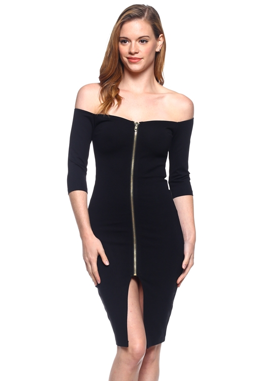 3/4 SLEEVE FRONT ZIPPER DRESS - orangeshine.com