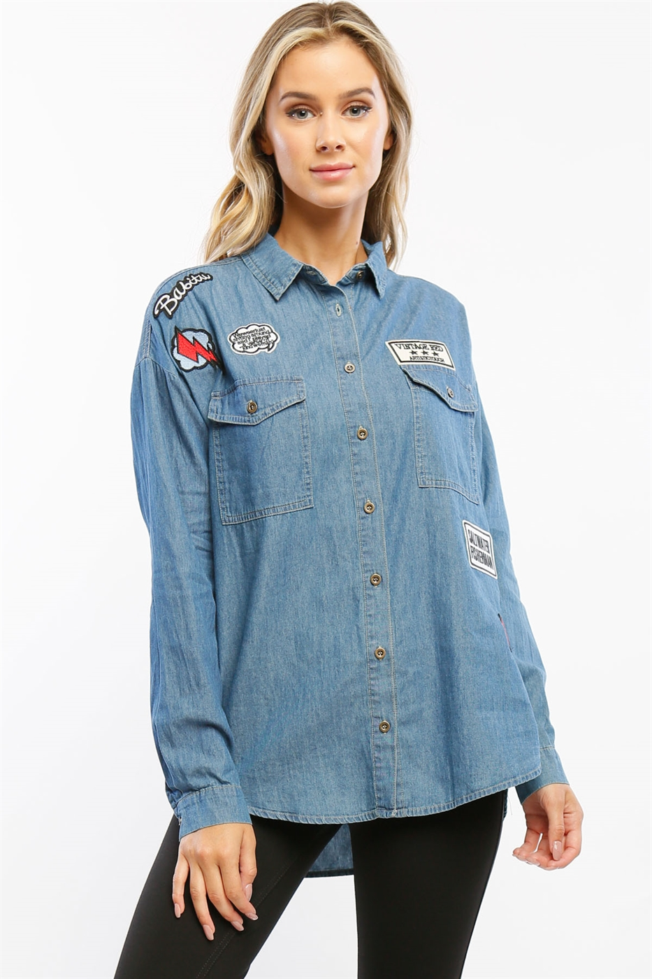 Denim Button Down w/ Patches - orangeshine.com