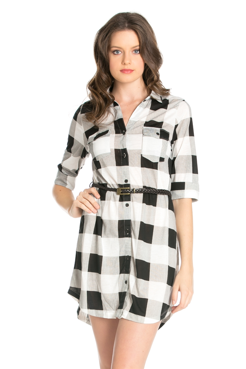 PLAID SHIRTS DRESS WITH BELT - orangeshine.com