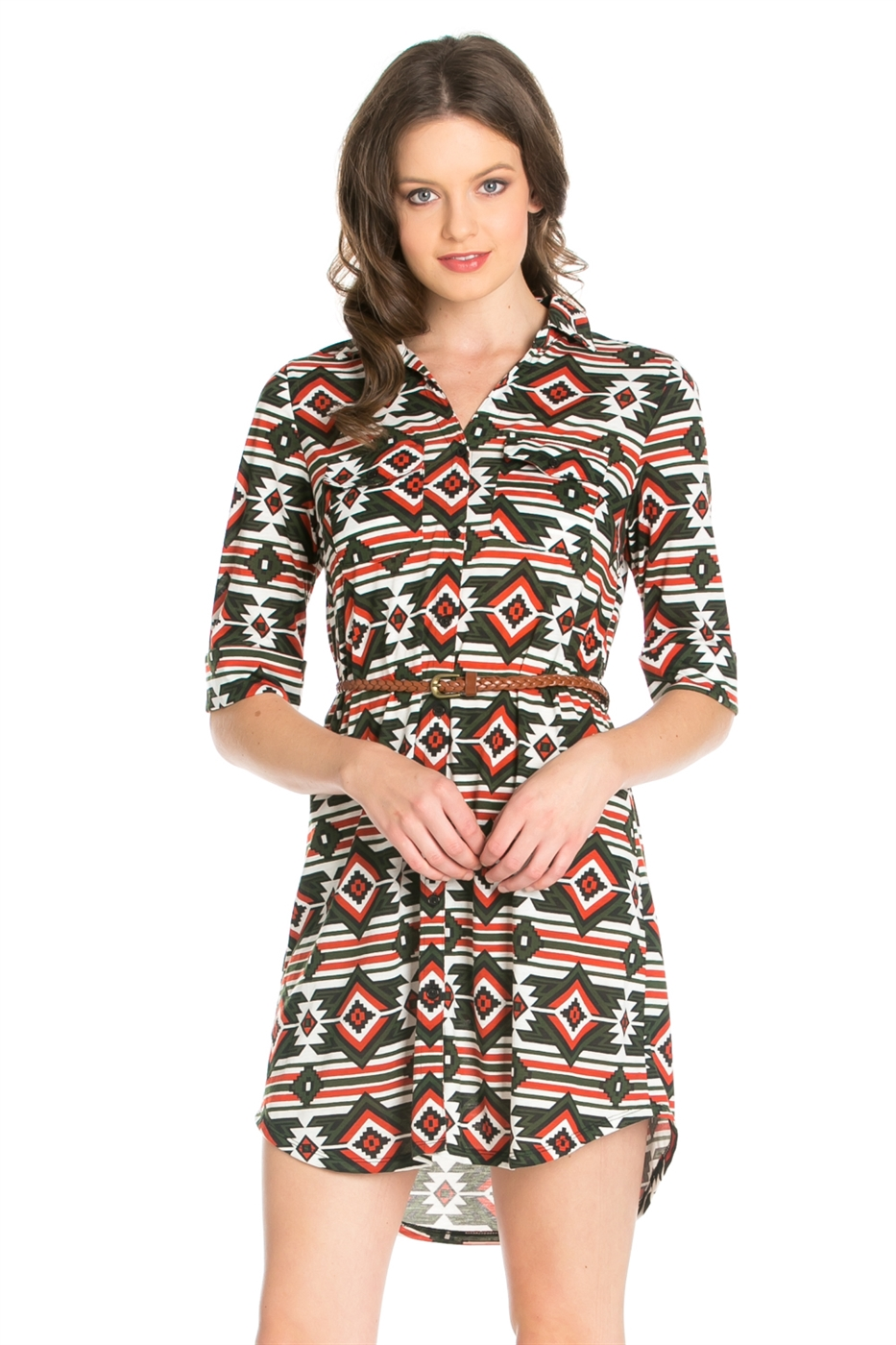 AZTEC PRINT SHIRT DRESS - orangeshine.com