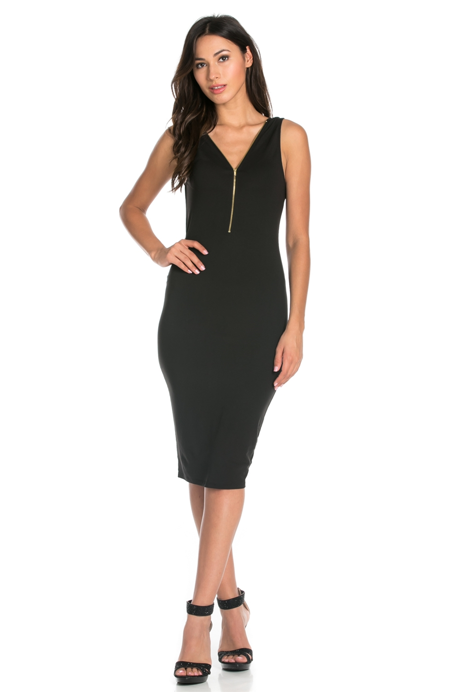SLEEVELESS FRONT ZIPPER DRESS - orangeshine.com