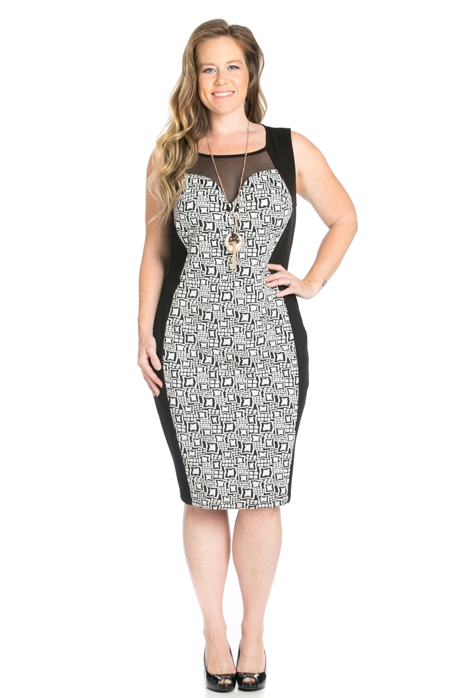 SLEEVELESS THIN LINE DRESS - orangeshine.com