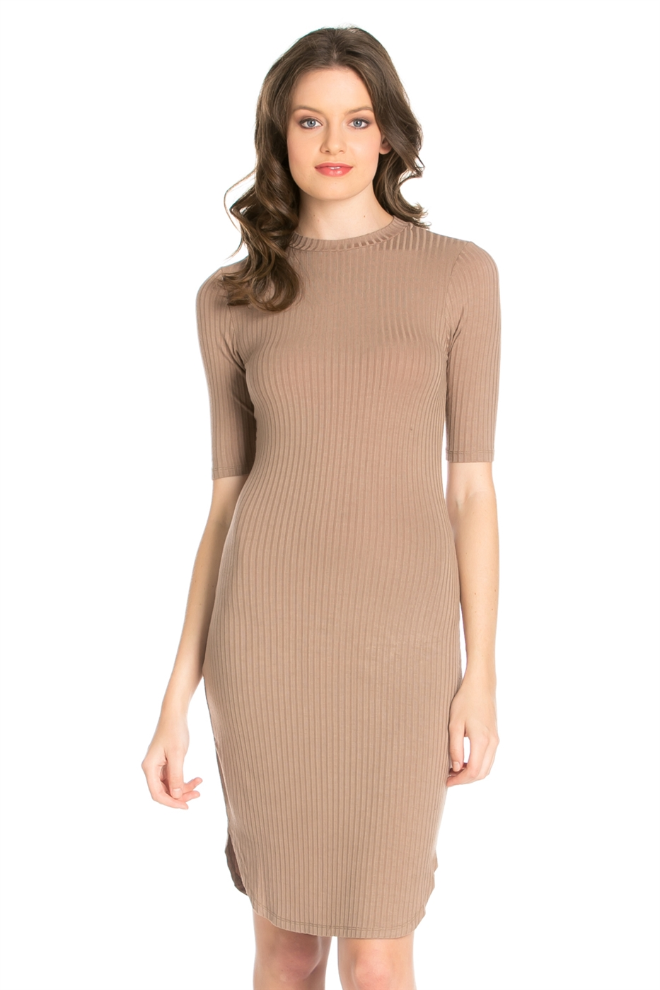 ELBOW SLEEVE MOCK NECK DRESS - orangeshine.com