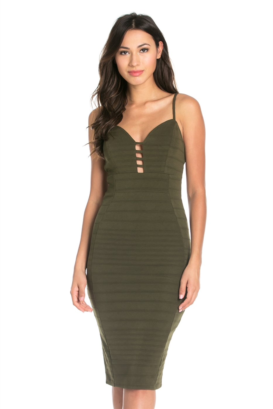 SLEEVELESS DEEP NECK DRESS - orangeshine.com