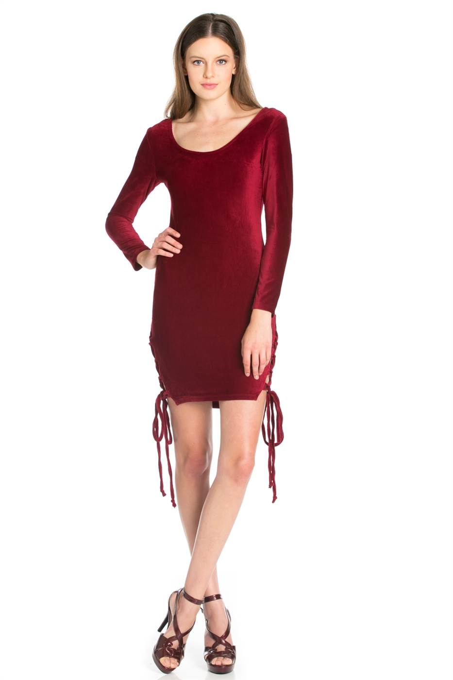 ROUND NECK LONG SLEEVE DRESS - orangeshine.com