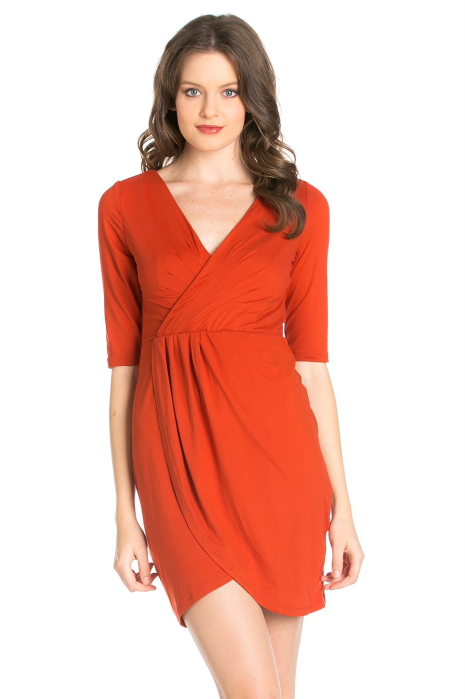 CROSS V NECK DESIGN DRESS - orangeshine.com