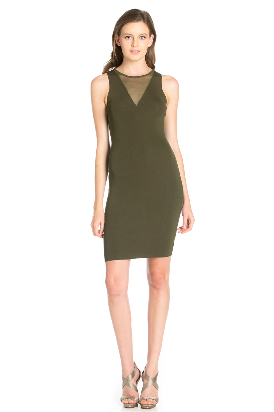 V NECK MESH SLEEVELESS  DRESS - orangeshine.com