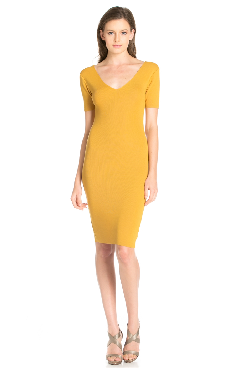 SHORT SLEEVE V NECK DRESS - orangeshine.com