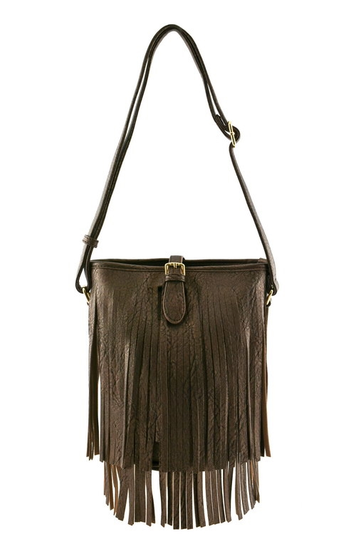 Fringe  Bucket Cross Body Bag - orangeshine.com