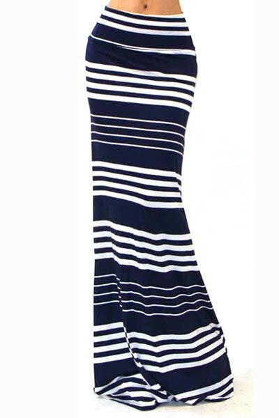 NAVY / WHITE STRIPED MAXI - orangeshine.com