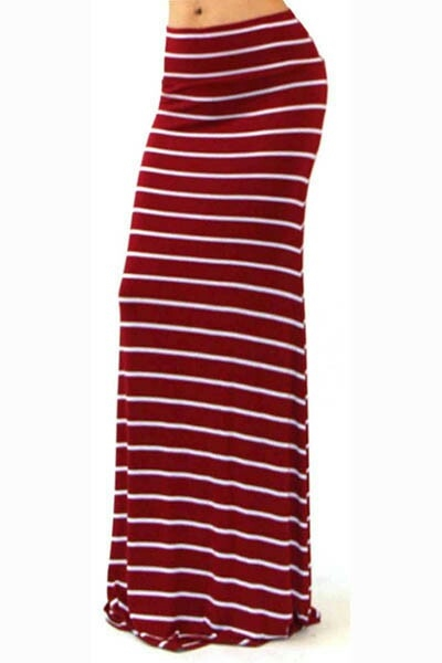 RED / WHITE STRIPE MAXI SKIRT - orangeshine.com