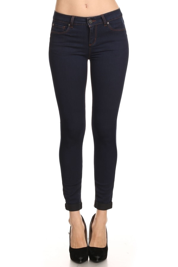 Saturated Cuffed Skinny Jeans - orangeshine.com
