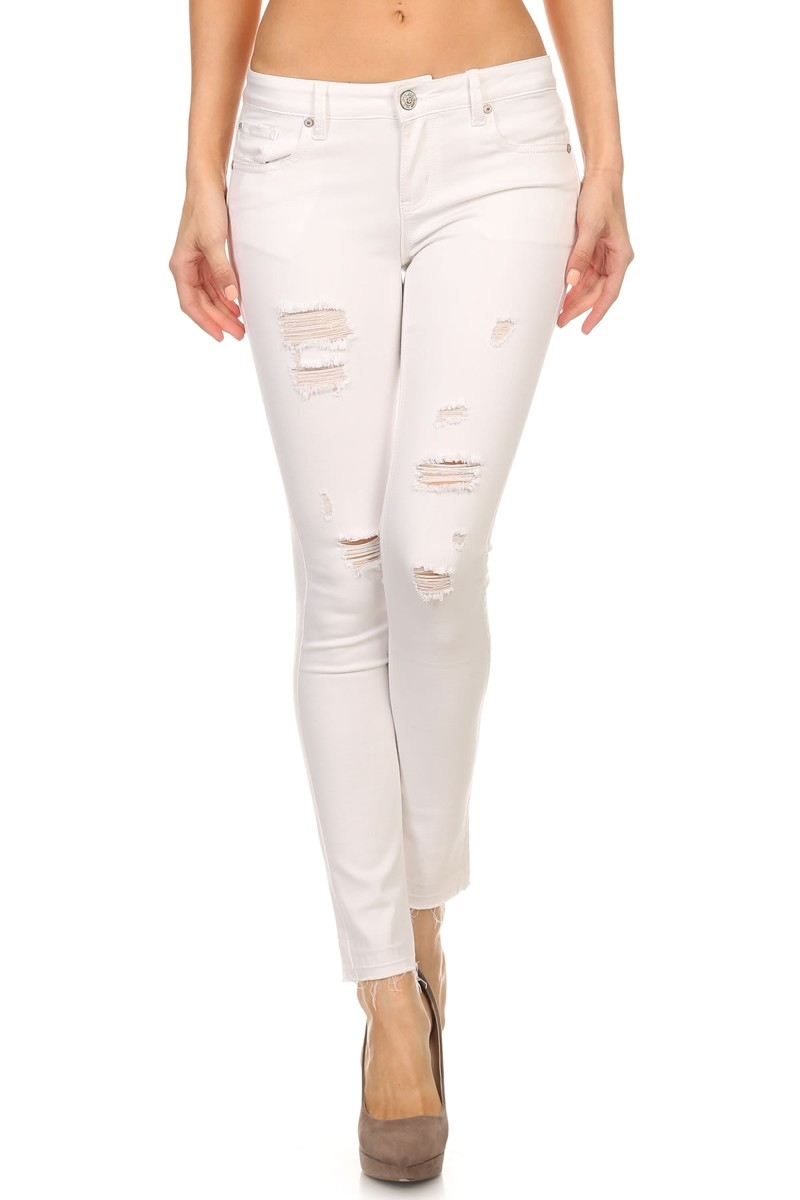 DISTRESSED CROP DENIM in WHITE - orangeshine.com