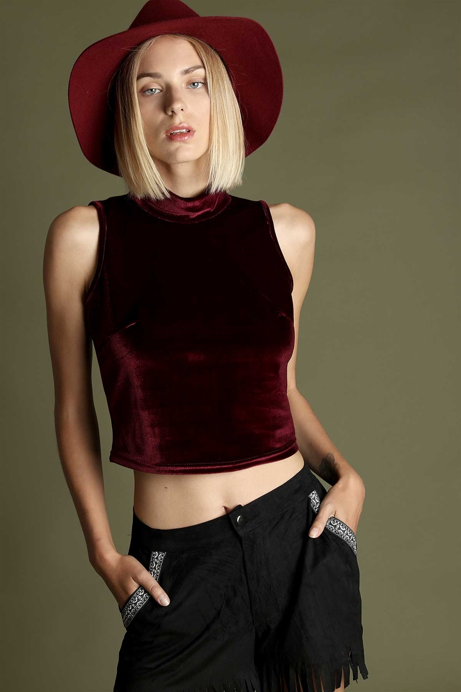 High neck velour crop top - orangeshine.com