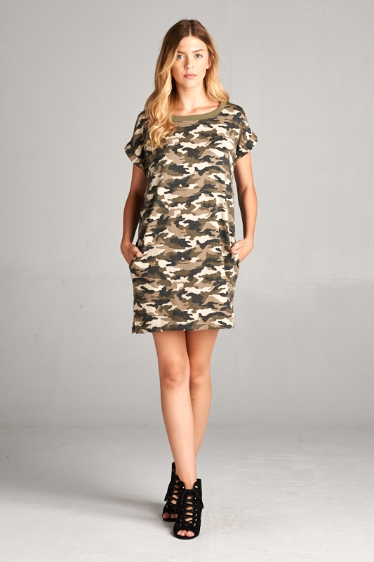 ARMY PRINT DRESS - orangeshine.com